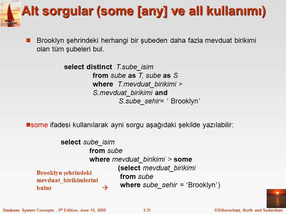 Alt sorgular (some [any] ve all kullanımı)
